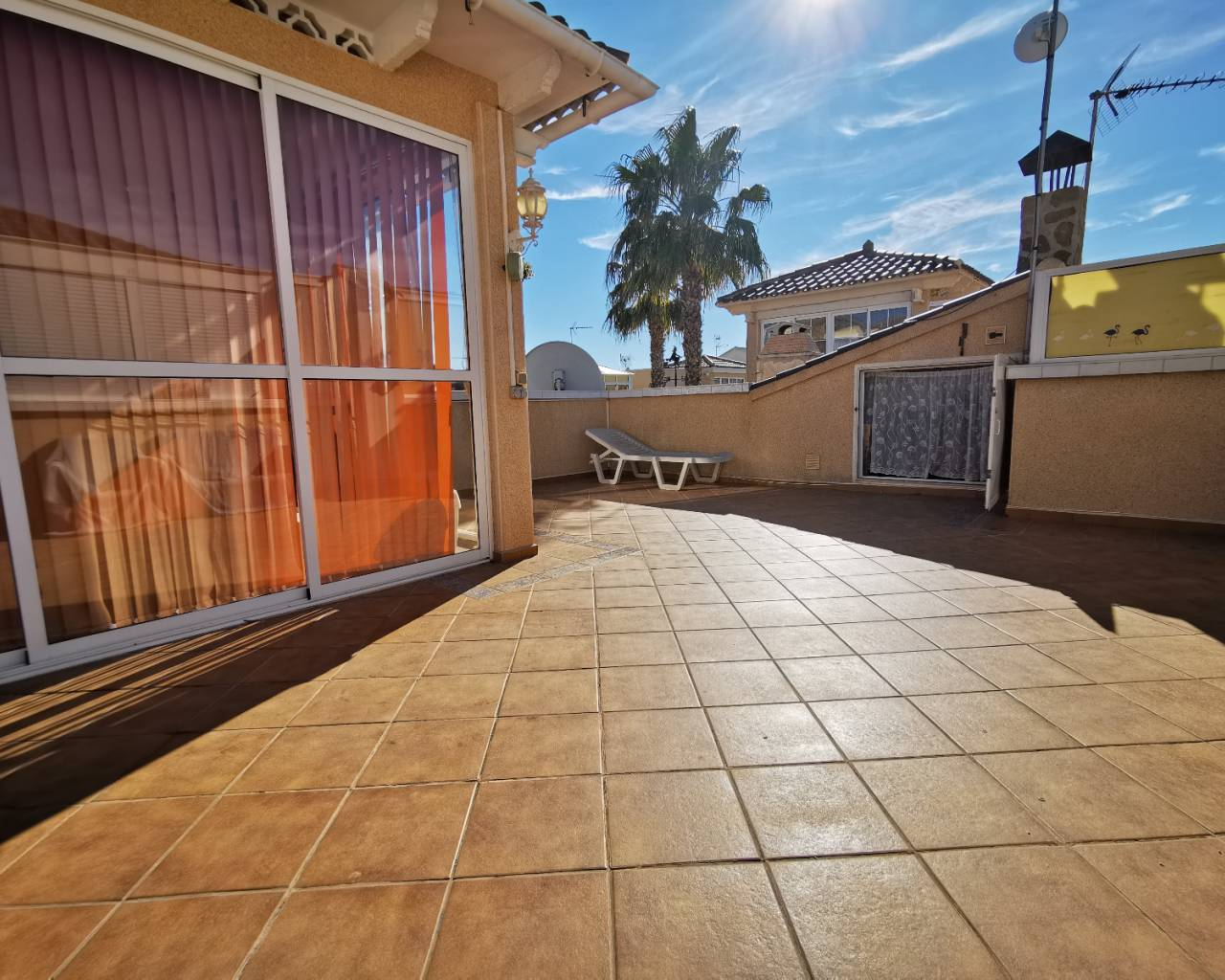 sunny solarium of this property for sale near moncayo beach guardamar