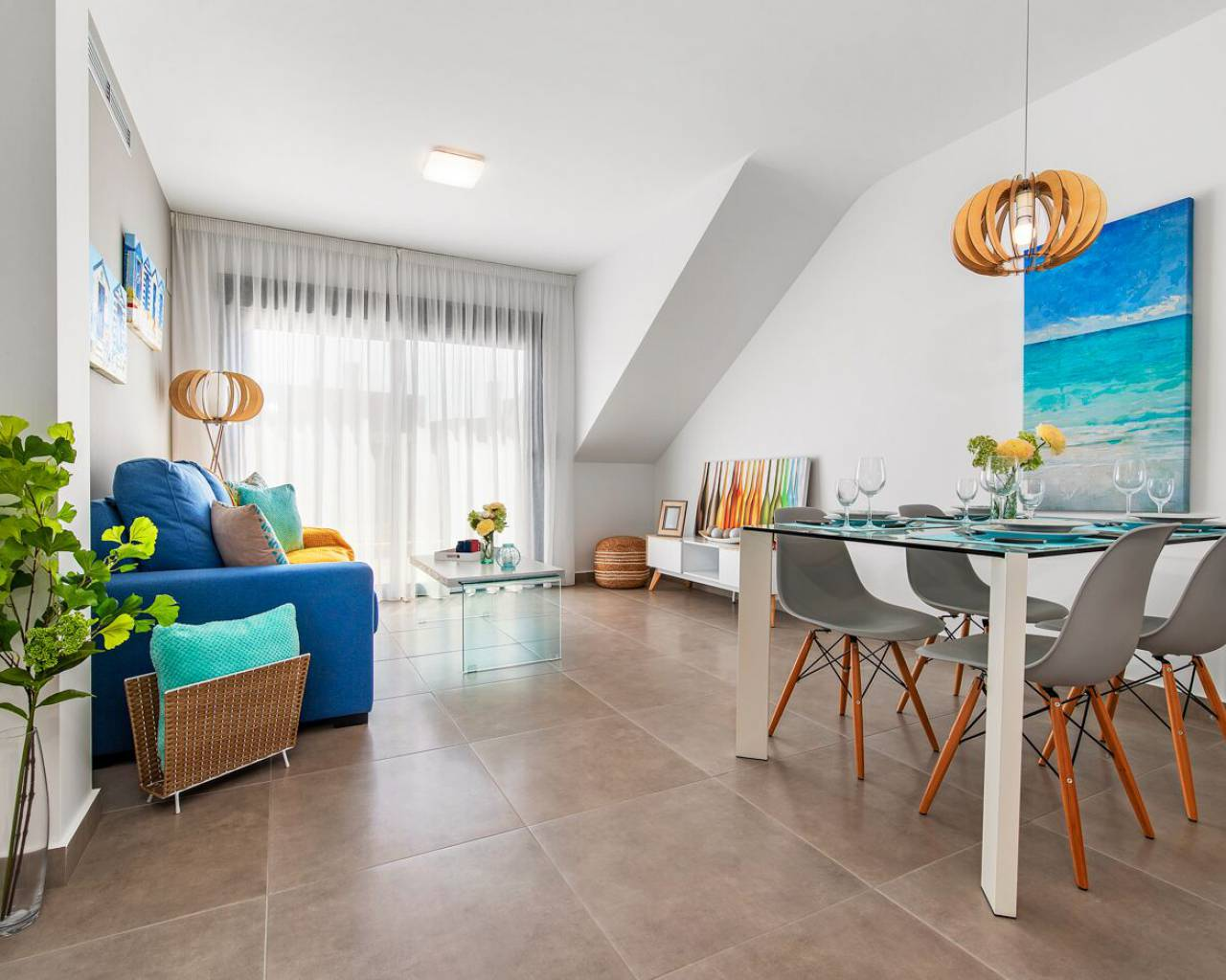 spacious living room inside new two bedroom apartments for sale pilar de la horadada